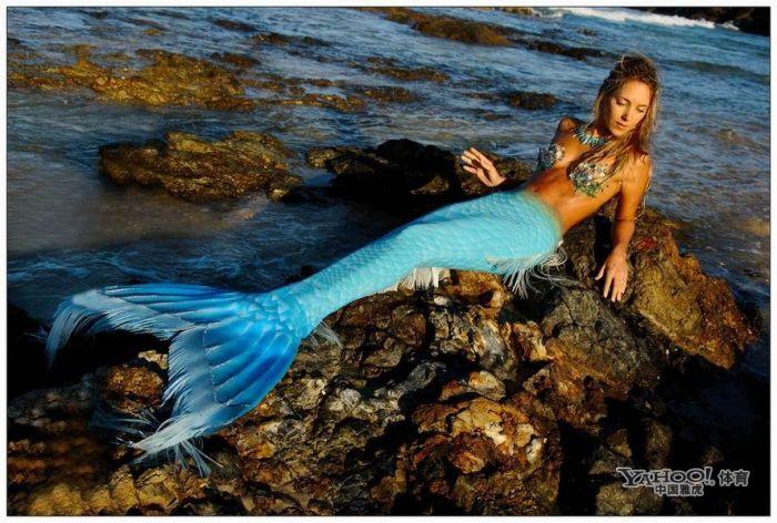 美女与鱼类同游 美女与鱼类同游 展现梦幻海洋般场景
